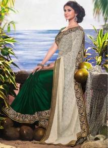 jennifer-winget-enticing-cream-and-green-reception-wear-designer-saree-19558-790x1086