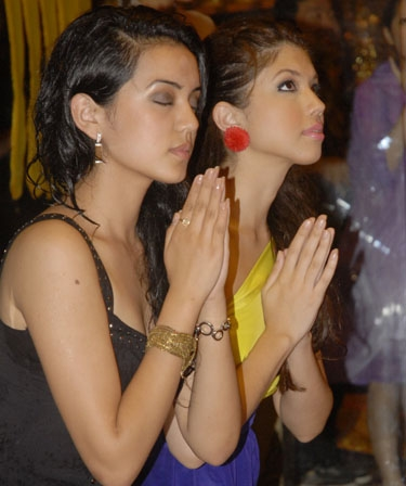 Sadichha Shrestha praying