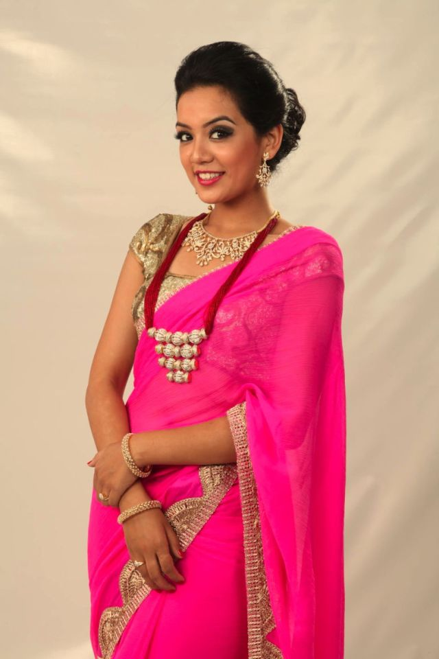Sadichha in a pink saree
